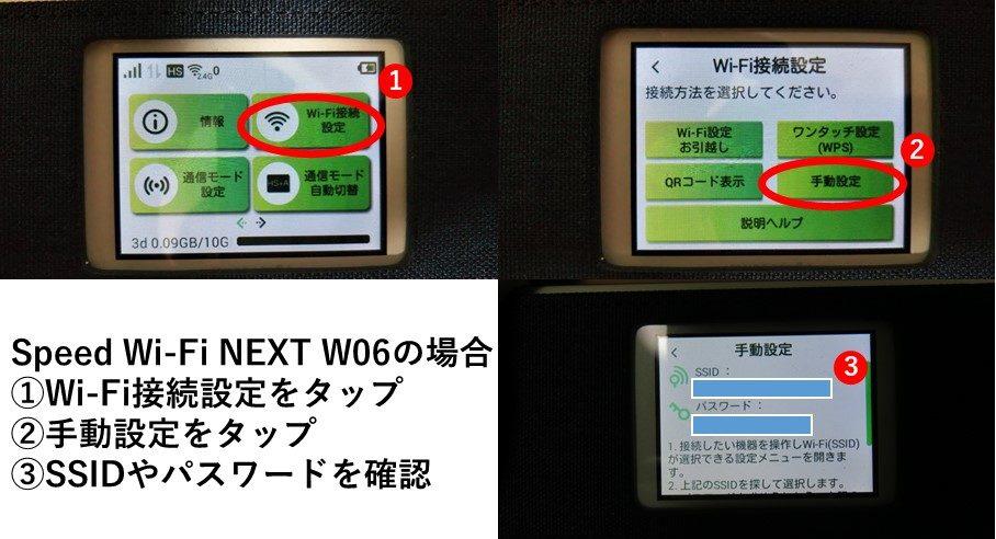 W06のSSIDやパスワード